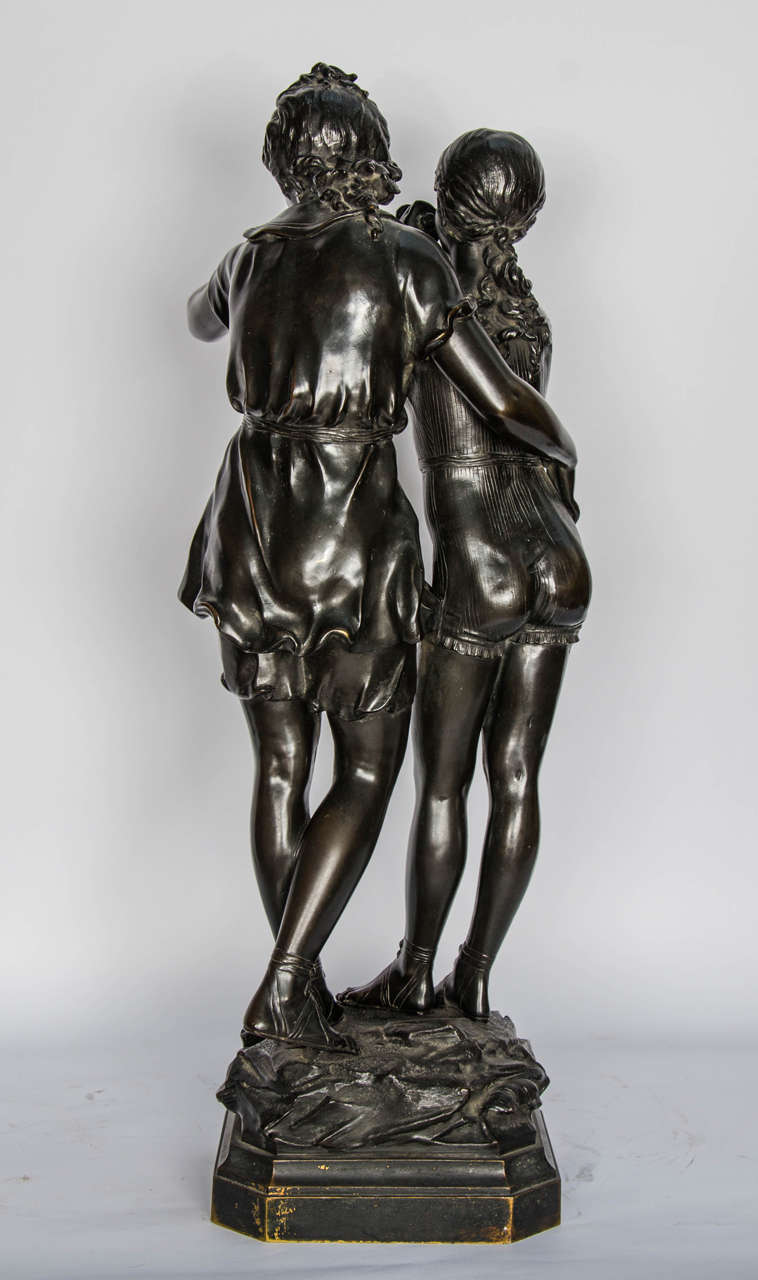 Bronze Study of Two Girls For Sale 3