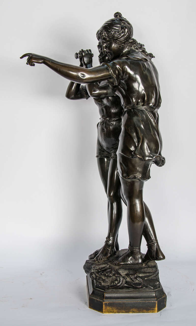 Bronze Study of Two Girls For Sale 4