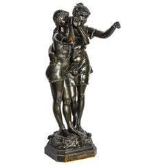 Bronze Study of Two Girl Bathers, by Ferrille Juan