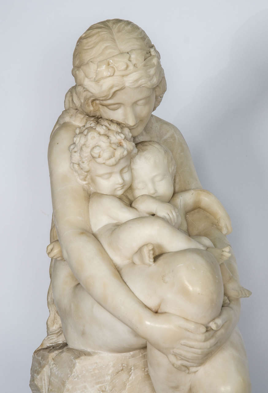 Italian Antique Alabaster Statue of mother and child, 19th Century. For Sale