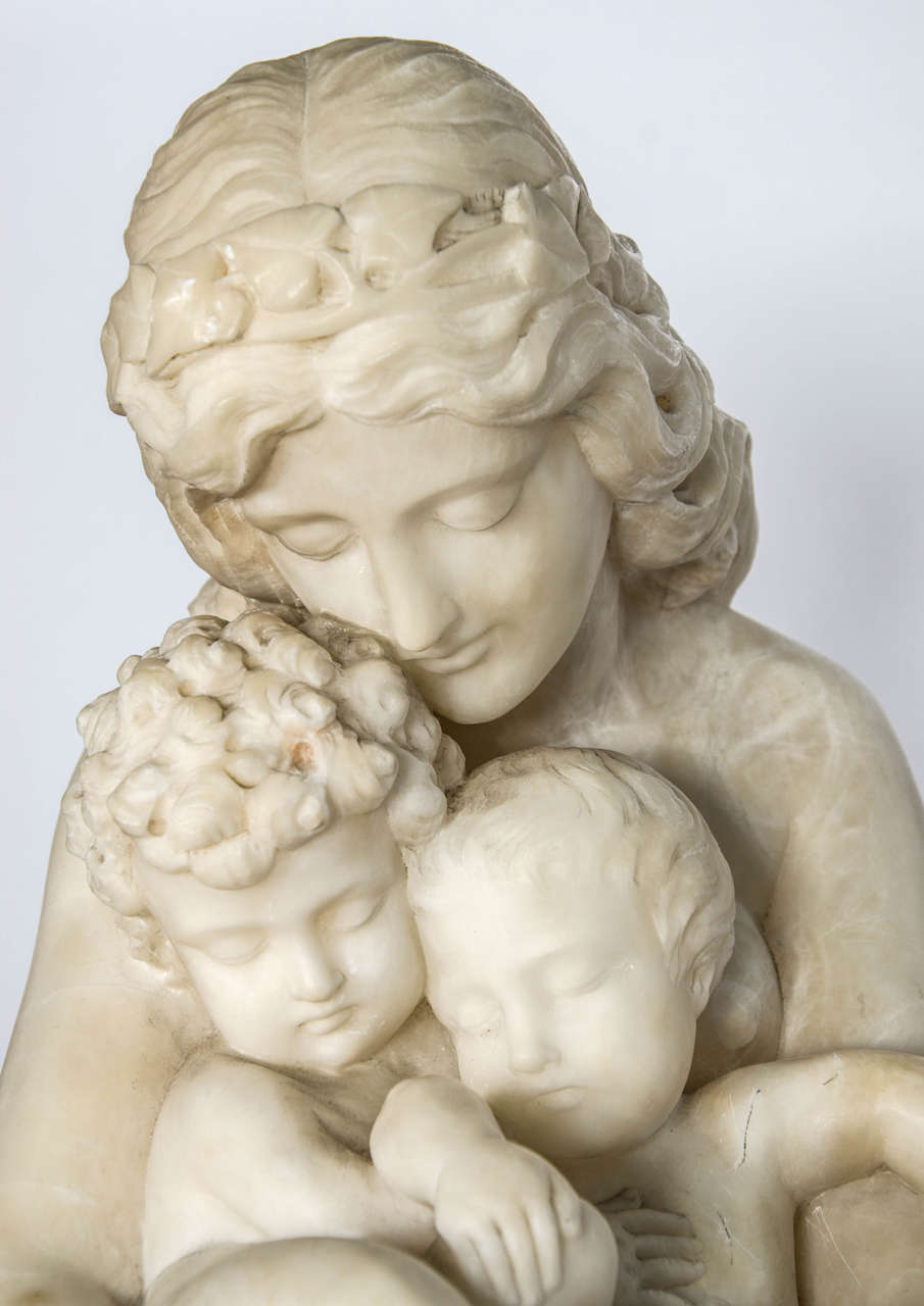 Antique Alabaster Statue of mother and child, 19th Century. In Good Condition For Sale In Brighton, Sussex