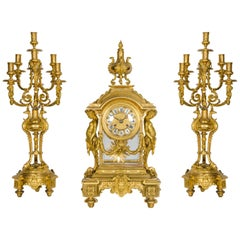 "Imposing 19th Century French Ormolu Clock Garniture 29""(73cm) high"