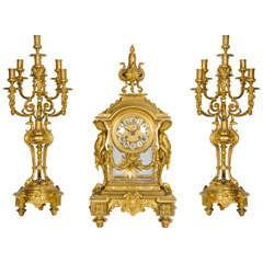 19th Century French Ormolu Clock Garniture