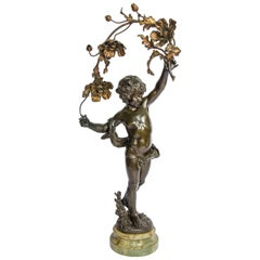 19th Century Bronzed Cherub Lamp