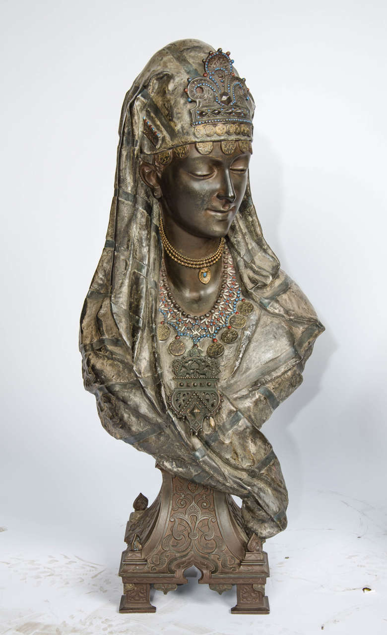 A good quality pair of 19th century cold-painted bronzed busts of Arabs wearing exotic headdresses and raised on classical plinths.