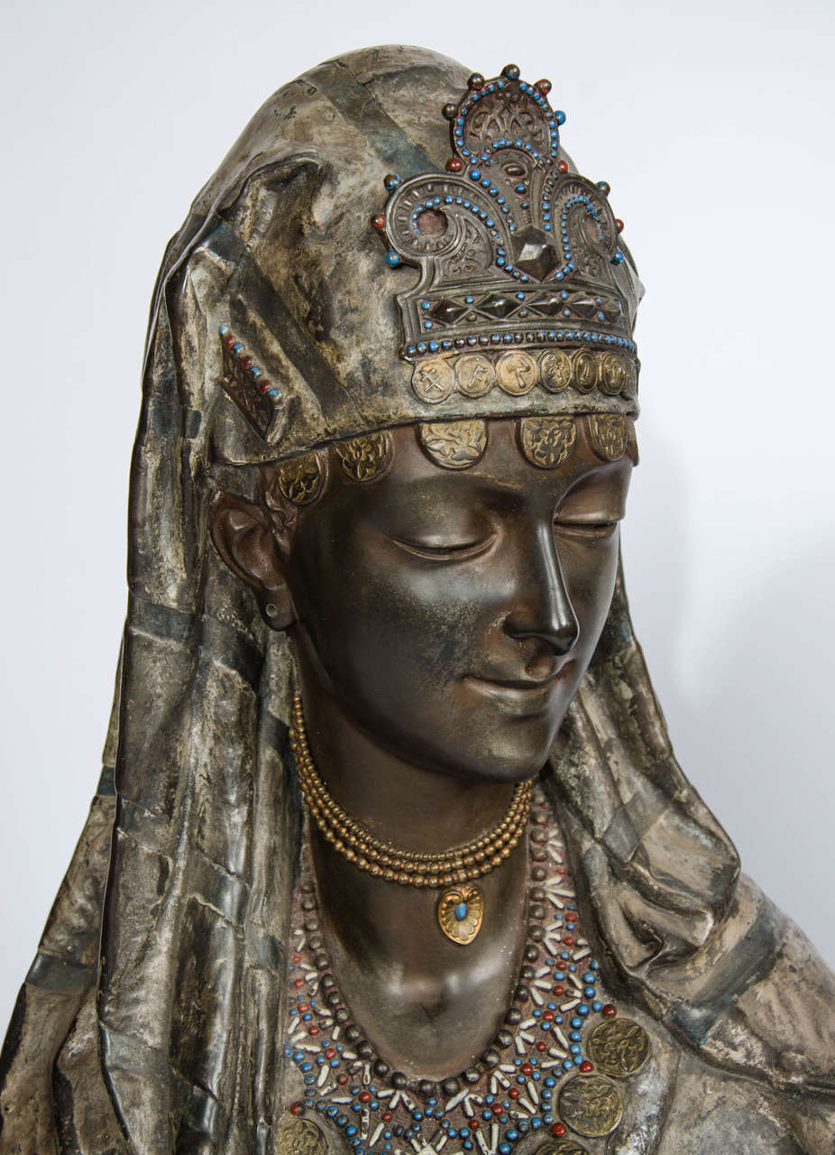 French Pair of 19th Century bronzed Arab Busts For Sale