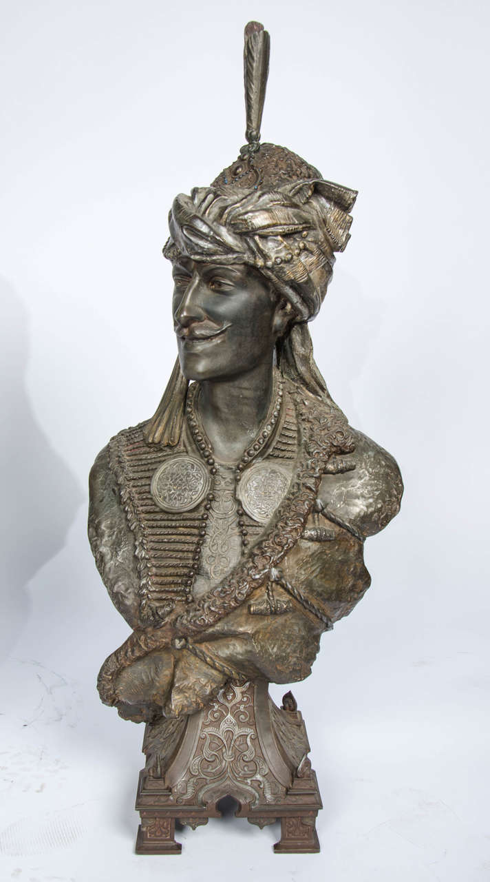 Cold-Painted Pair of 19th Century bronzed Arab Busts For Sale