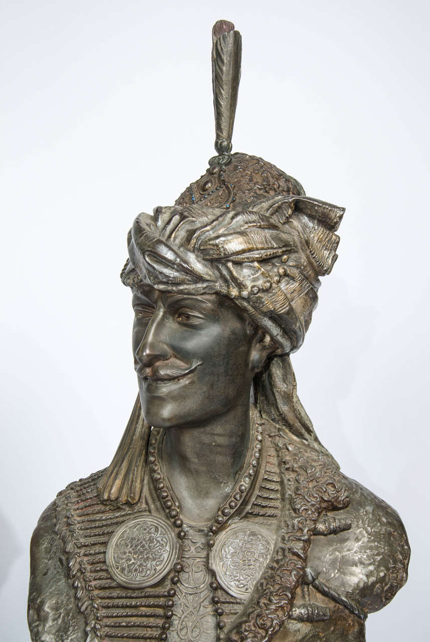 Pair of 19th Century bronzed Arab Busts In Good Condition For Sale In Brighton, Sussex