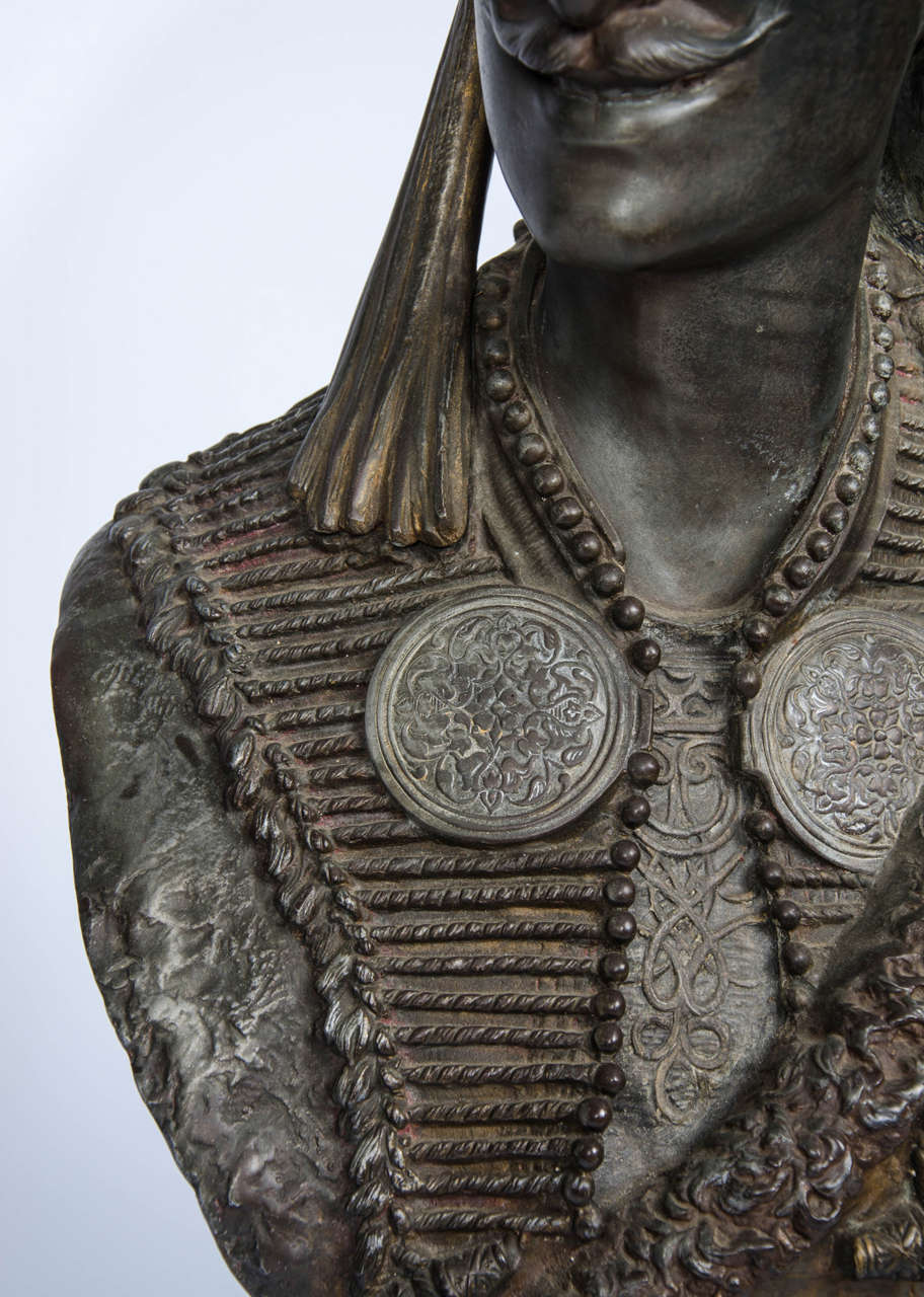 Mid-19th Century Pair of 19th Century bronzed Arab Busts For Sale