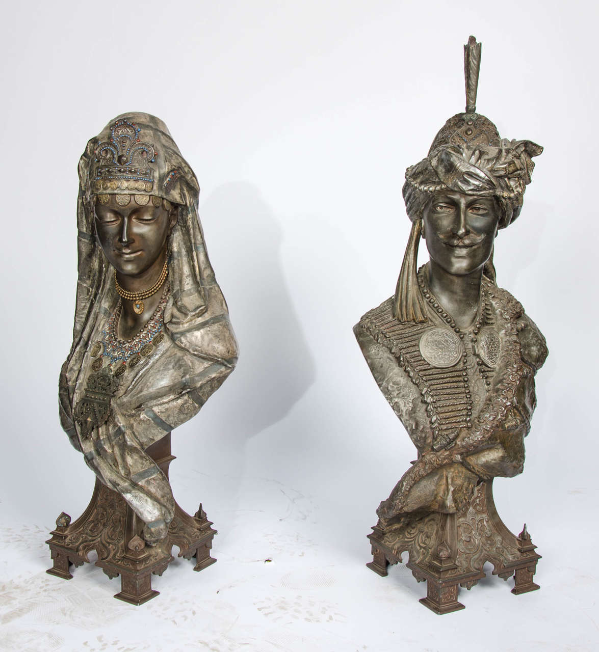 Spelter Pair of 19th Century bronzed Arab Busts For Sale