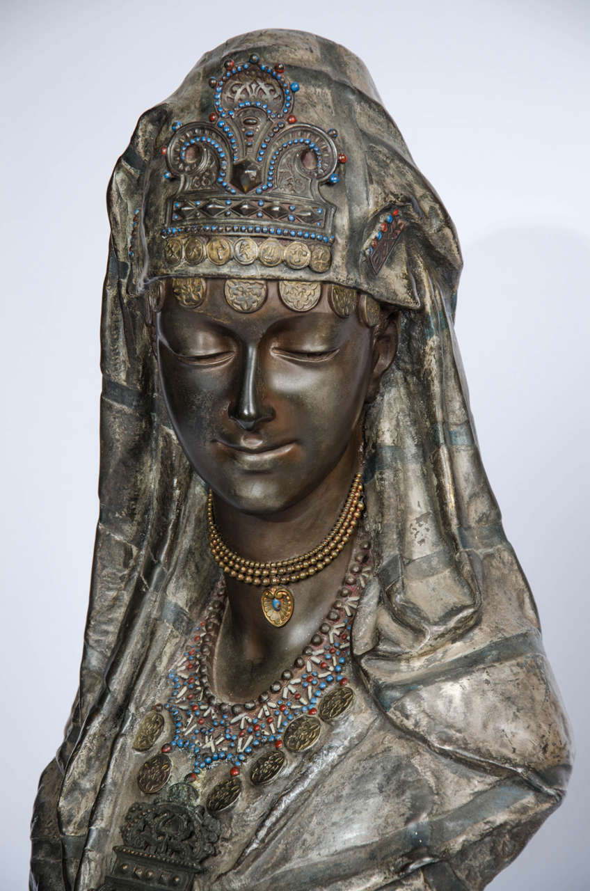 Pair of 19th Century bronzed Arab Busts For Sale 1