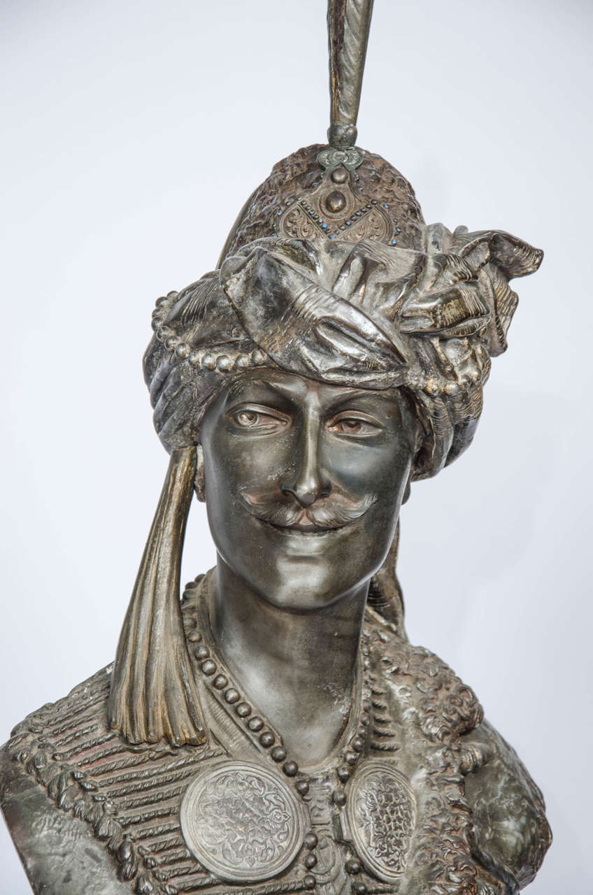 Pair of 19th Century bronzed Arab Busts For Sale 2
