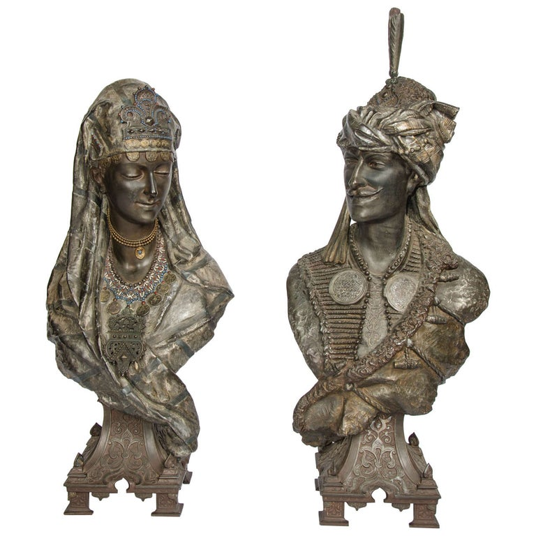 Pair of 19th Century bronzed Arab Busts For Sale