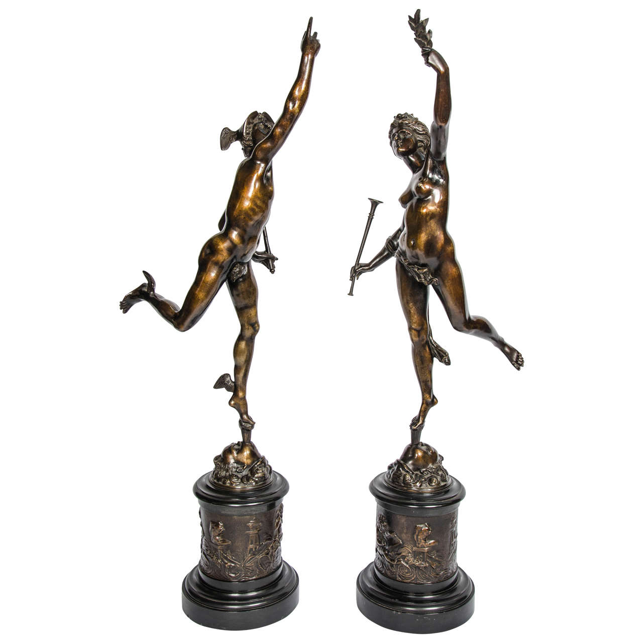 19th Century Bronze Mercury and Fortuna