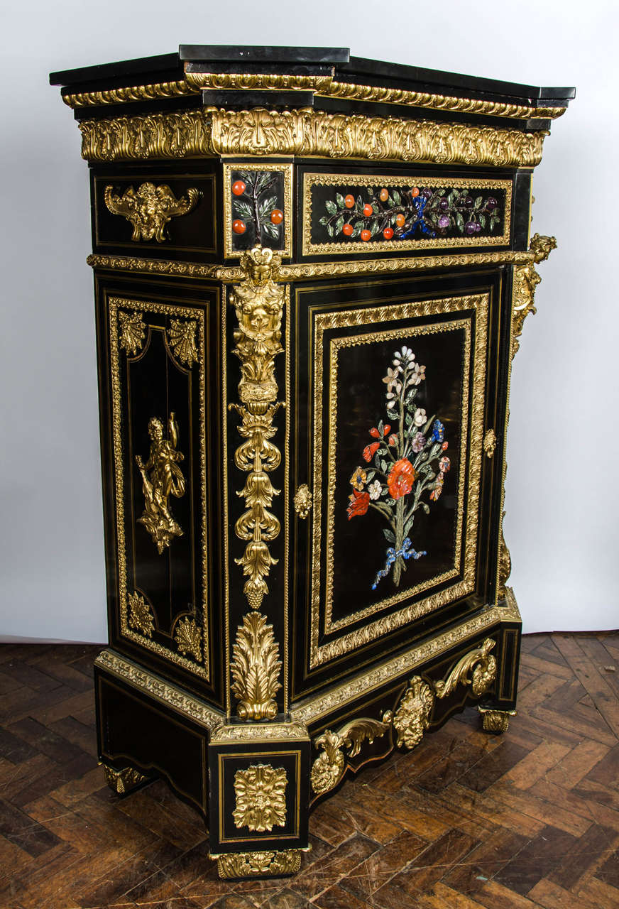 Monumental Pair Pietra Dura Cabinets, 19th Century For Sale 2