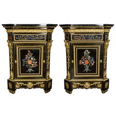 Monumental Pair Pietra Dura Cabinets, 19th Century