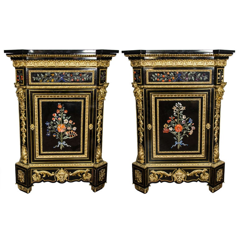 Monumental Pair Pietra Dura Cabinets, 19th Century For Sale