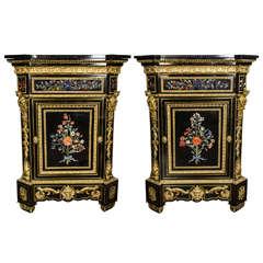 Monumental Pair Pietra Dura Cabinets