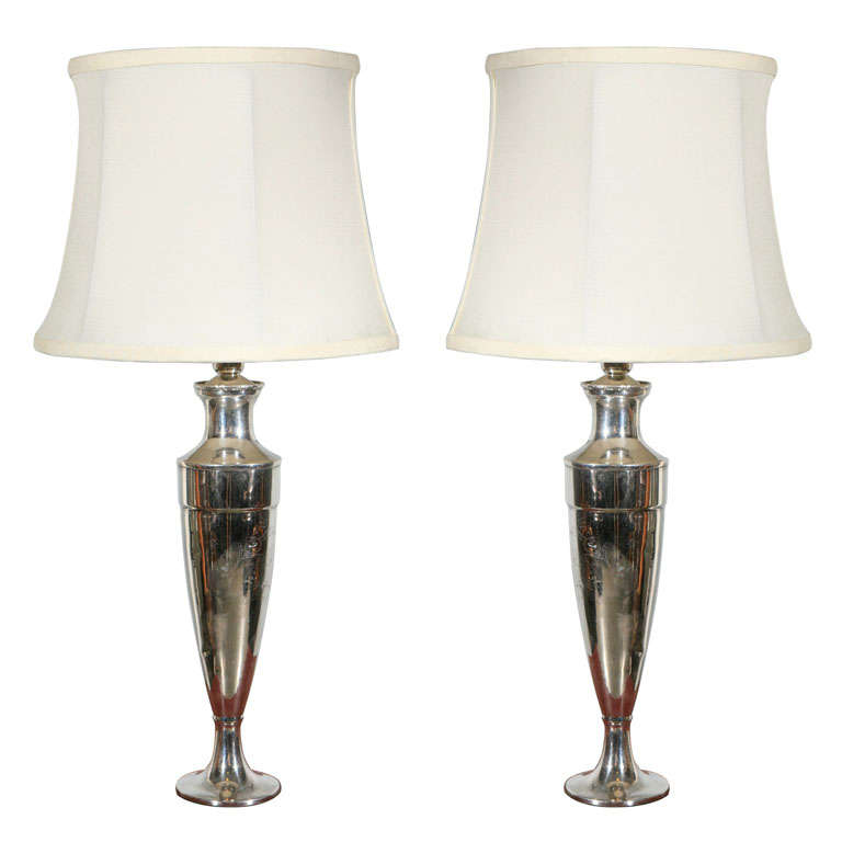 Pair Silver Plated Lamps