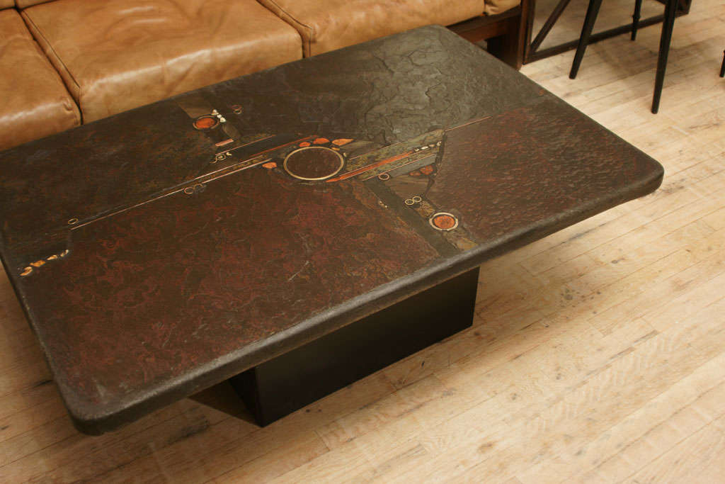 Slate Coffee Table With Brass Inserts At 1stdibs