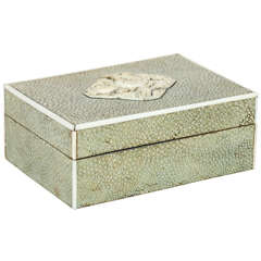 English Art Deco Shagreen and Carved Ivory Box