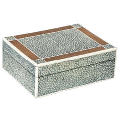 English Art Deco Shagreen, Cedar and Ivory Box