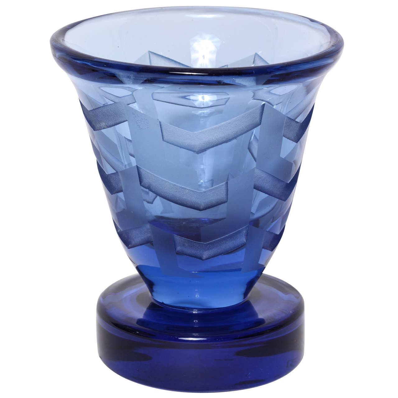 Jean Luce French Art Deco Etched Blue Glass Vase on Circular Base
