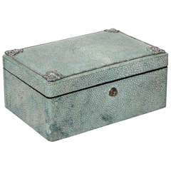 English Art Deco Shagreen and Silver Jewelry Box