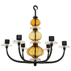 Erik Hoglund 6 light Amber Glass - Iron Chandelier