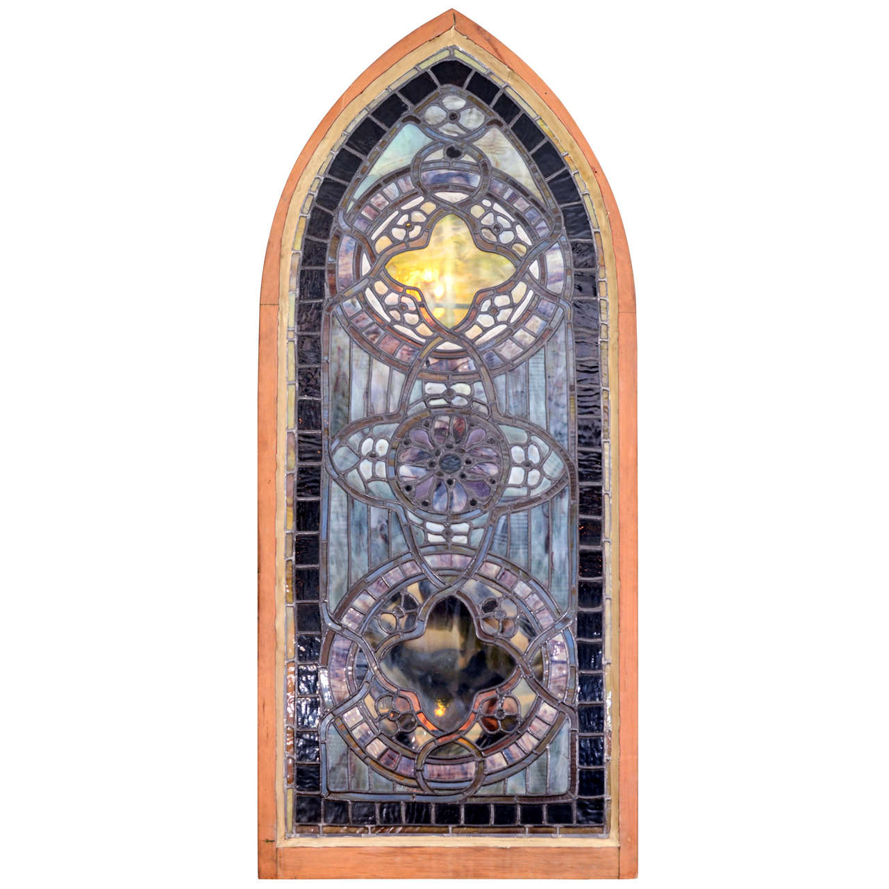 Original Tiffany Stained Glass Gothic Arched Window For