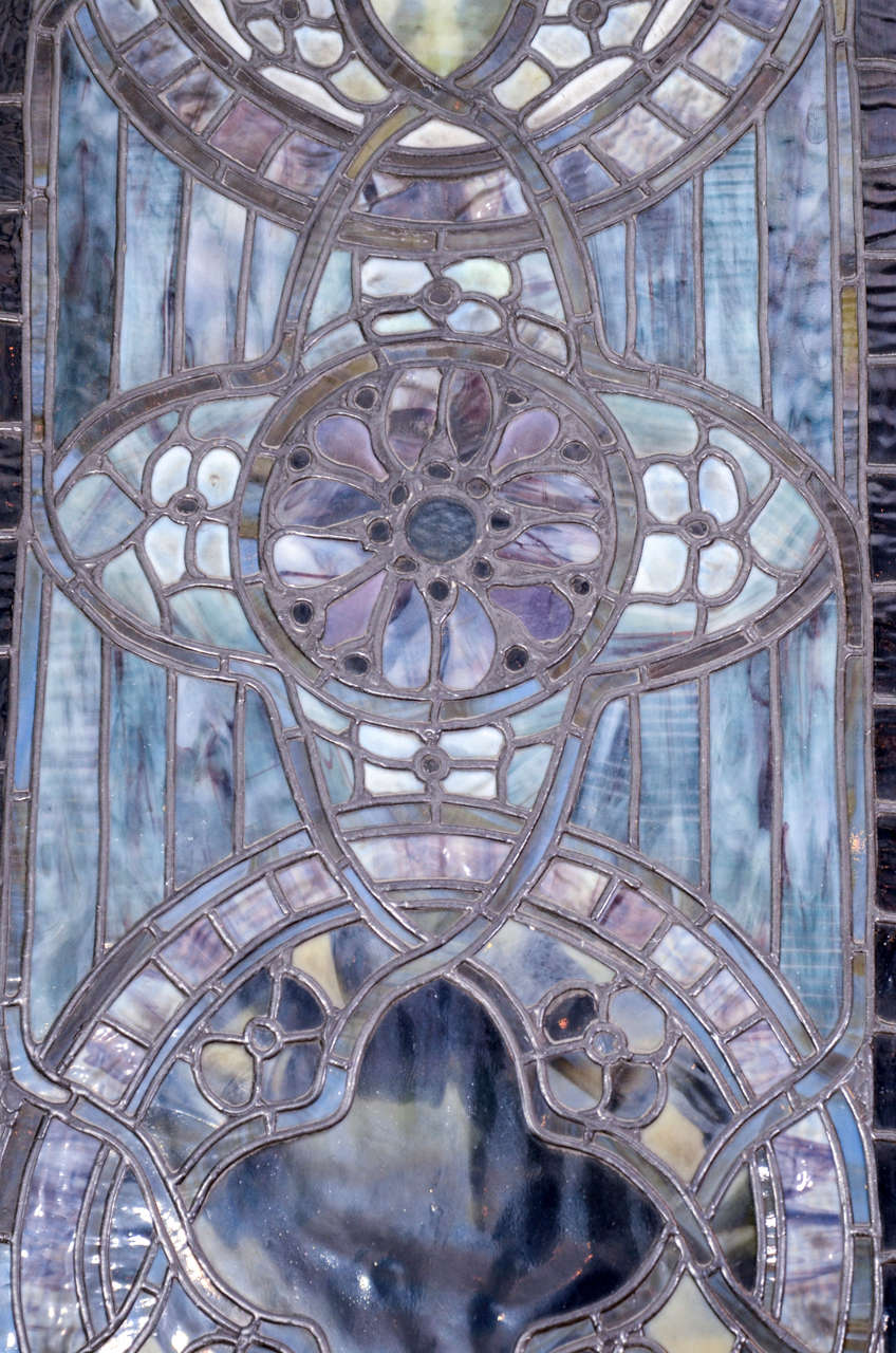 Wood Original Tiffany Stained Glass Gothic Arched Window For Sale