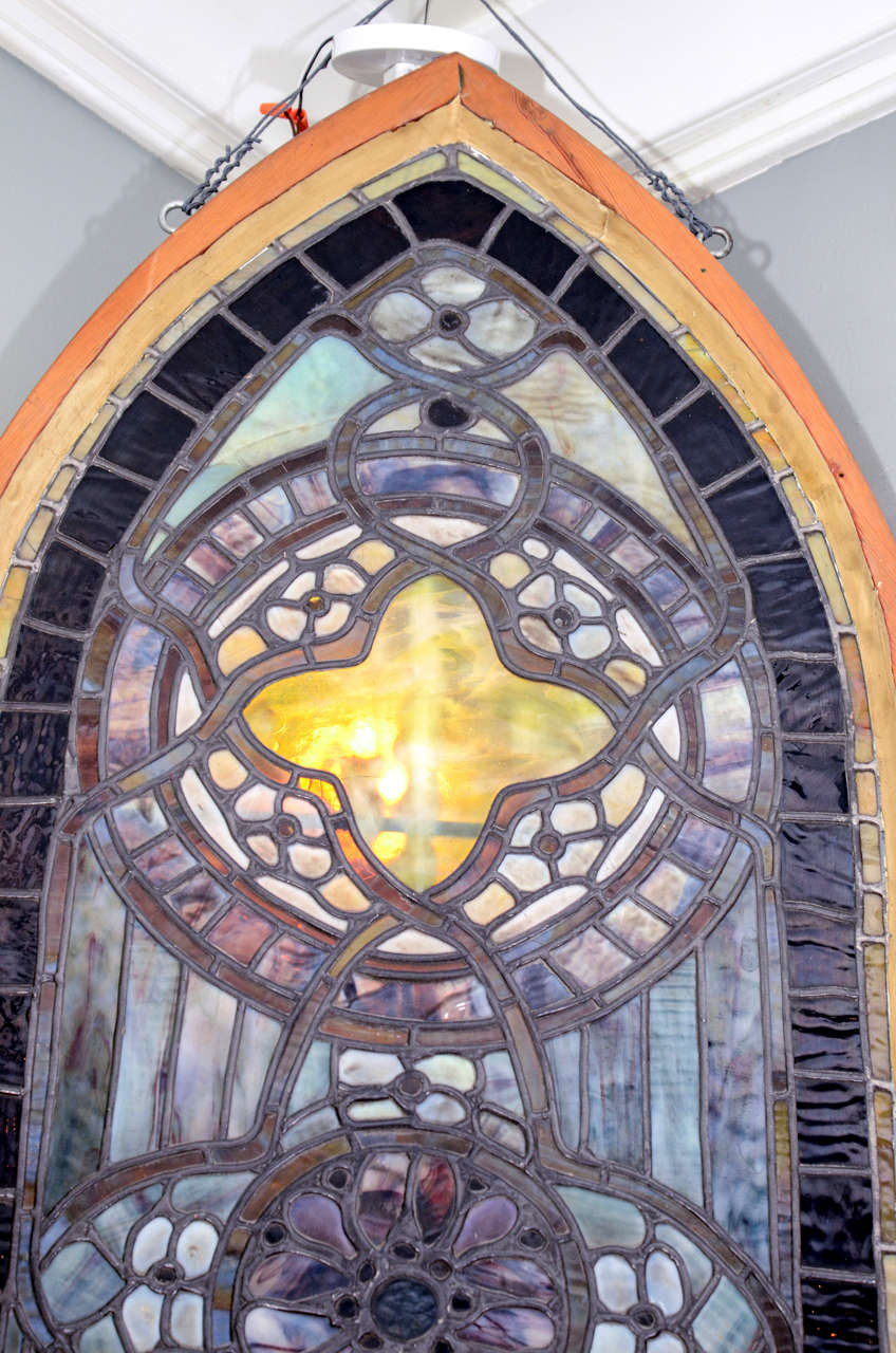 Original Tiffany Stained Glass Gothic Arched Window For Sale 1