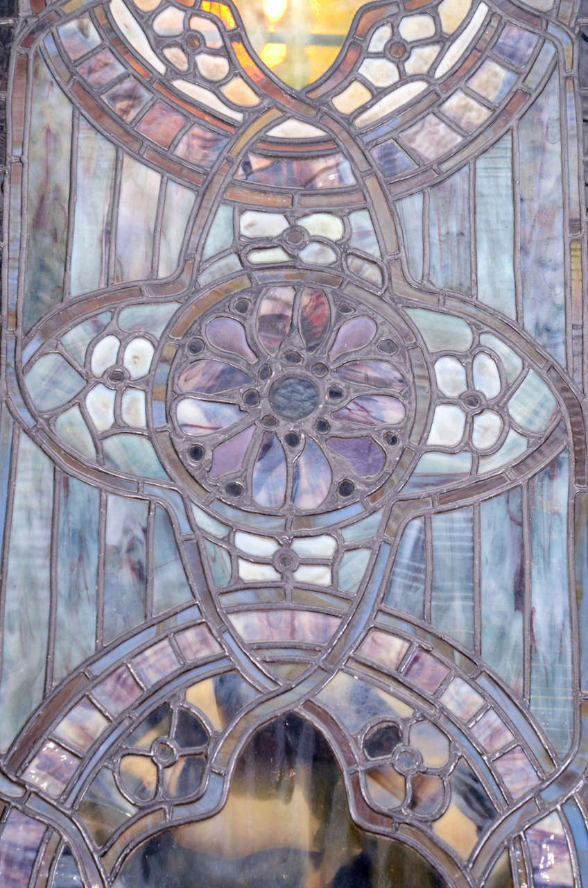 Original Tiffany Stained Glass Gothic Arched Window For Sale 3