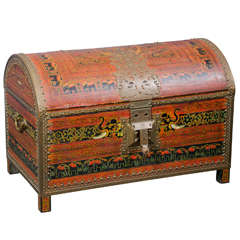 Large 1940s Trunk w/Brass Trim From India With Elephant Design