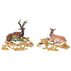 Porcelain Stag and Doe by Samson et Cie, circa 1890