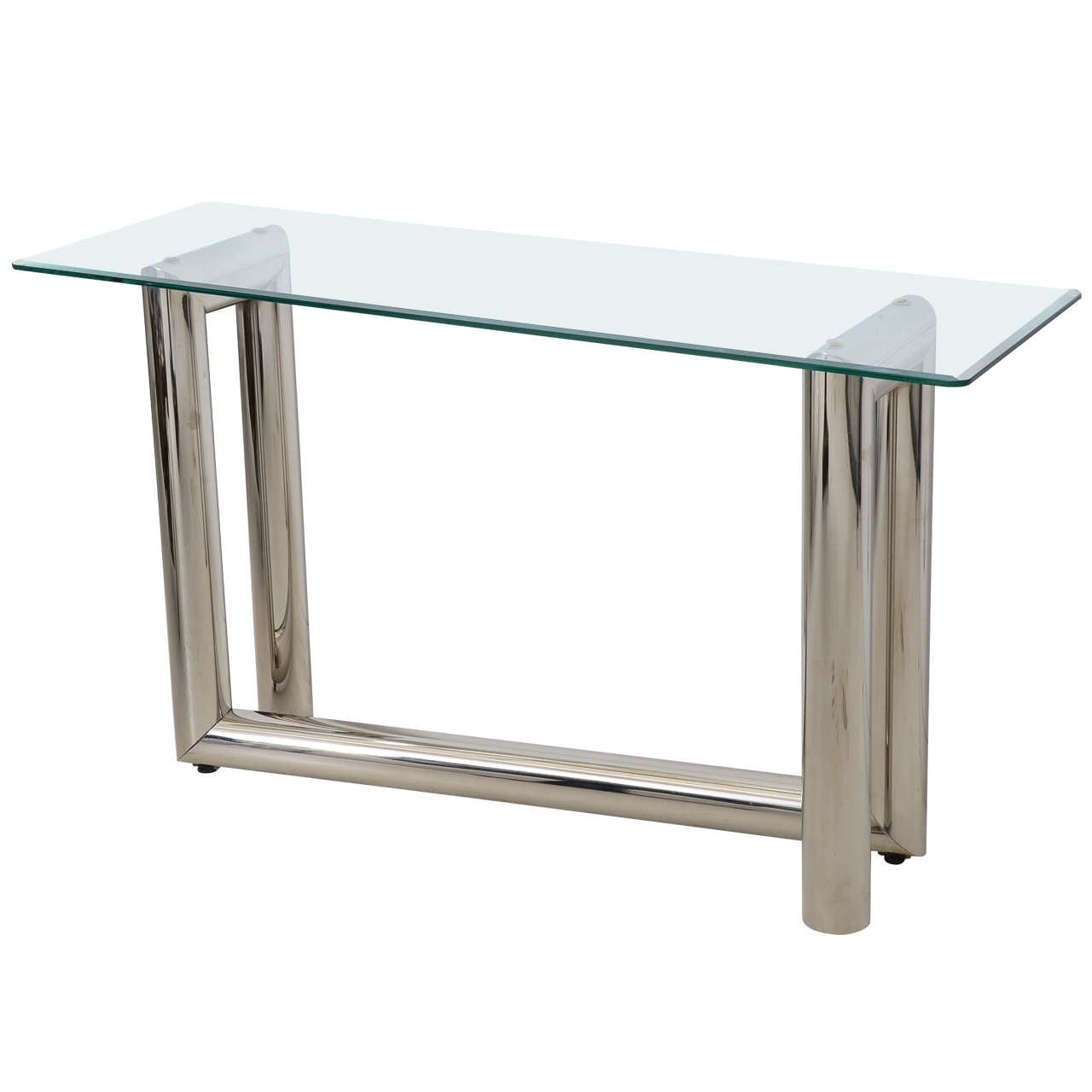 late mid century chrome and glass console table style of karl  - late mid century chrome and glass console table style of karl springer