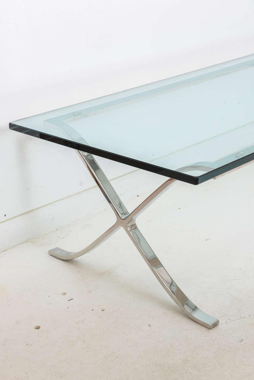 "Rectangular Glass Coffee Table: Modern Rectangular Glass And Polished Chrome ""X-Base"