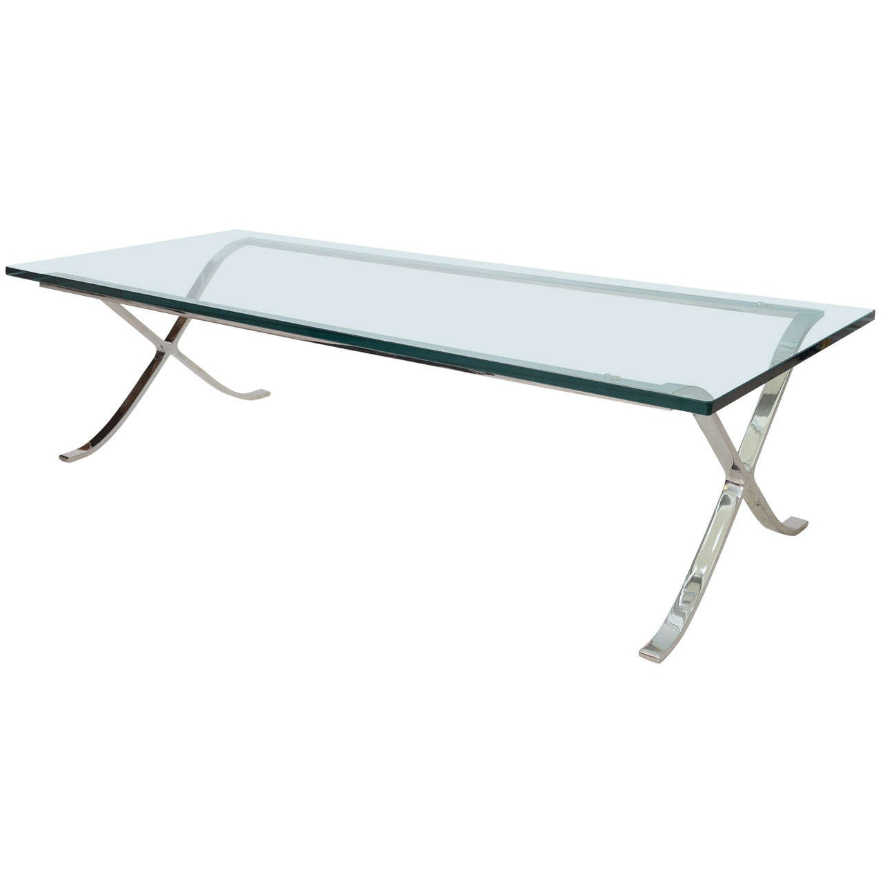 "Modern Rectangular Glass and Polished Chrome ""X-Base"" Cocktail Table"