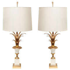 Pair of Maison Charles Gilt Bronze Lamps