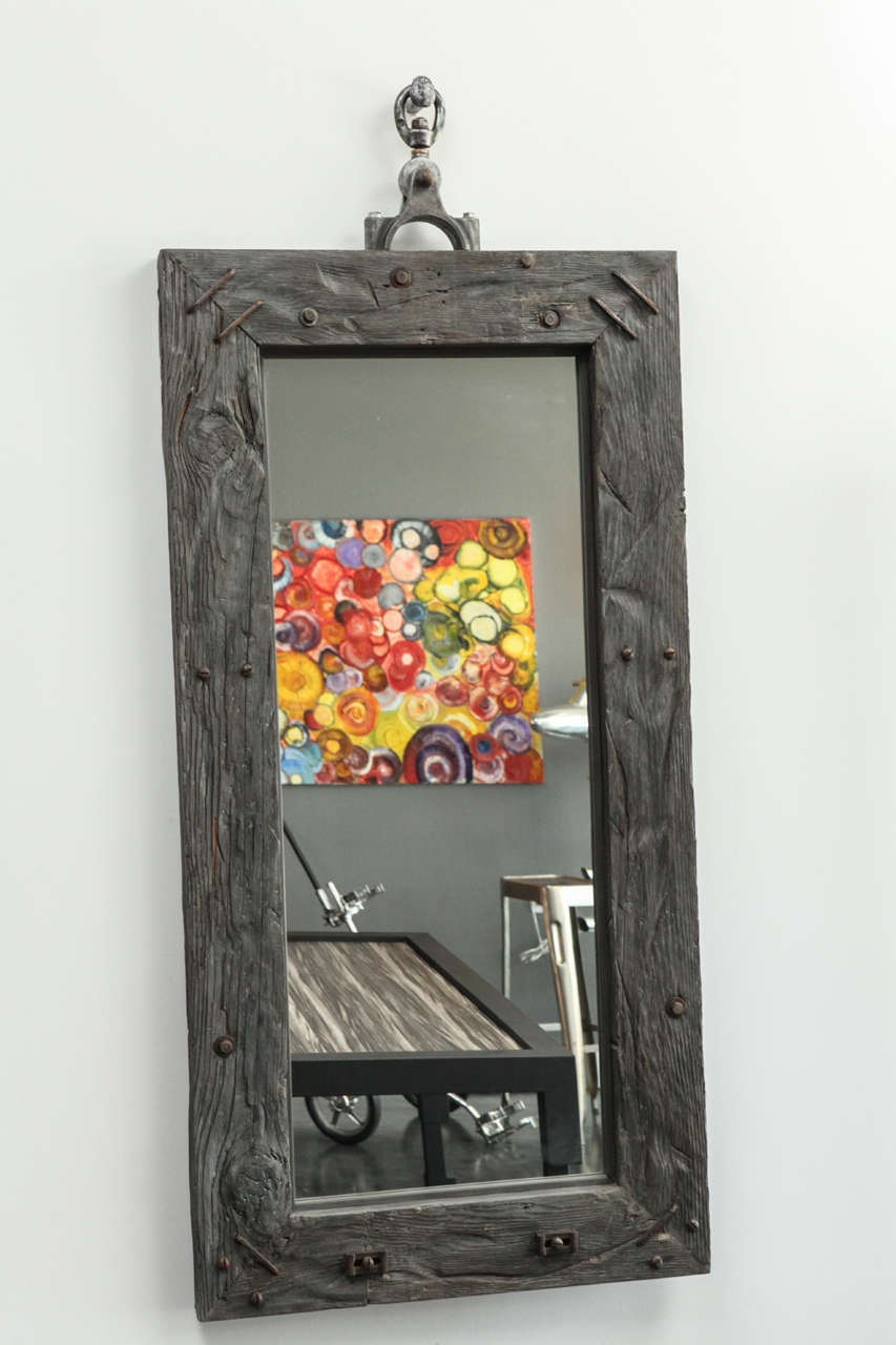 industrial vintage woo and wrought iron  Mirror