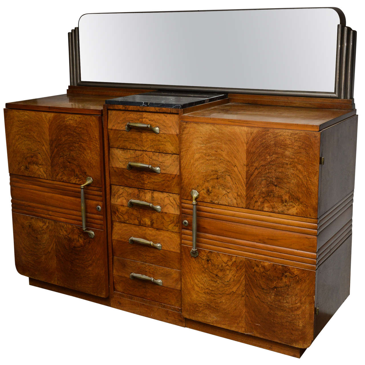French Art Deco Buffet in Solid Walnut For Sale at 1stdibs