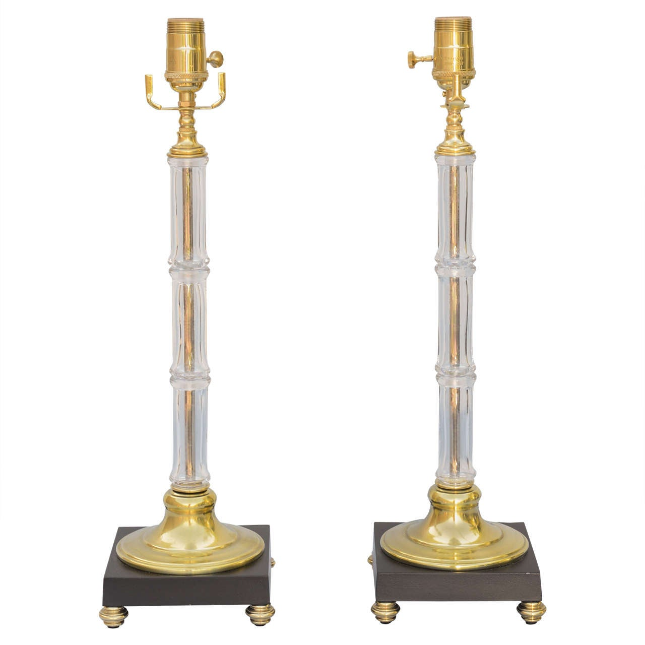 """Pair of Glass and Brass """"Bamboo"""" Lamps"""