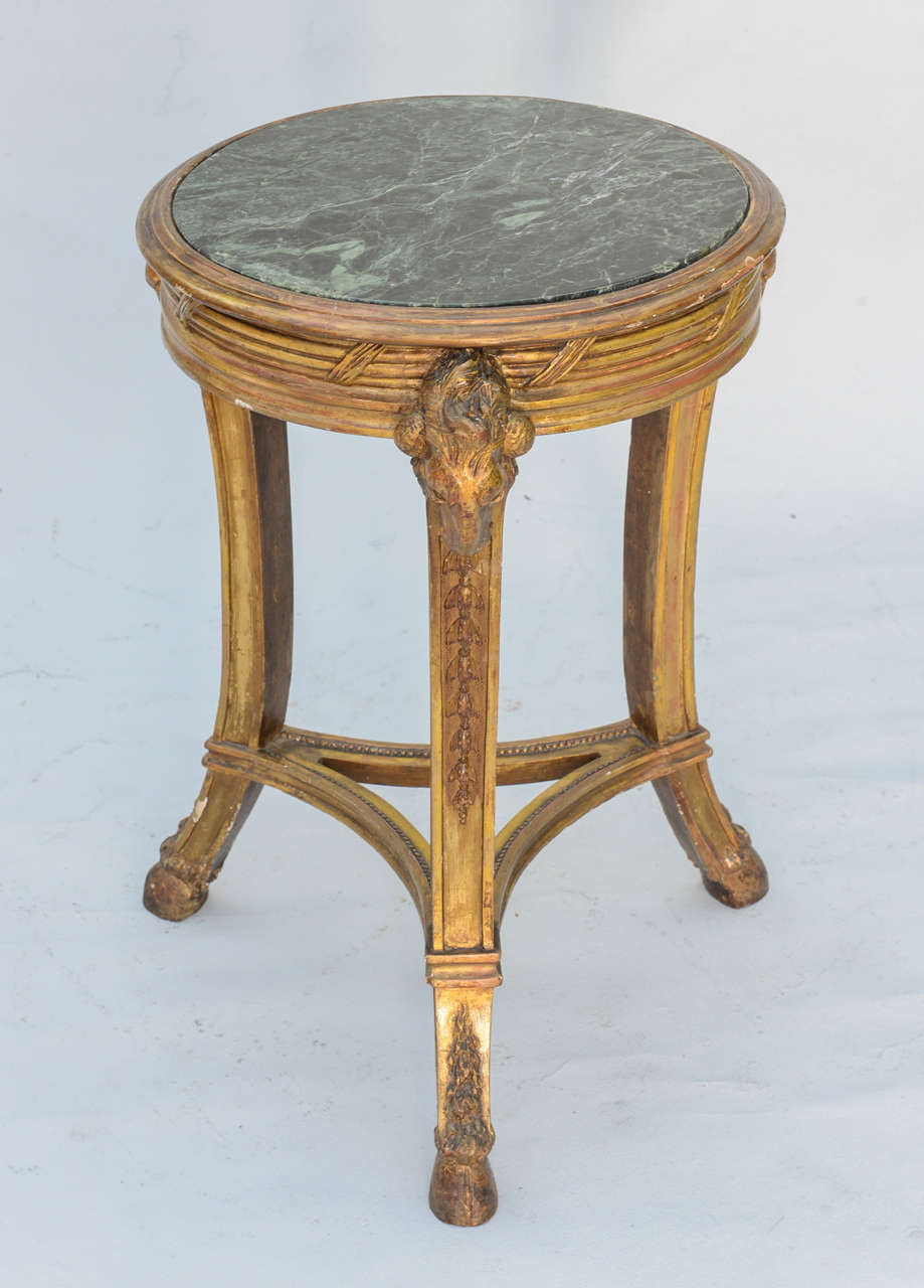Round Green Marble : Classical form round giltwood table with marble top at stdibs