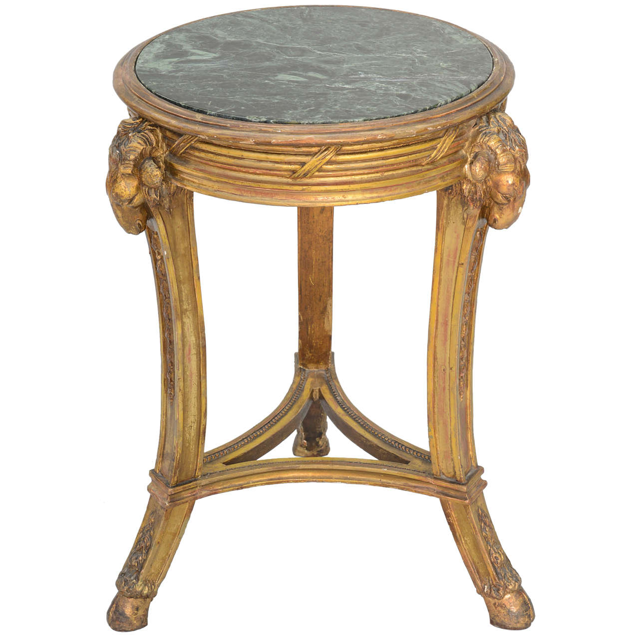Classical form round giltwood table with marble top for for Round marble side table
