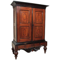 Antique Ceylon Teak and Ebony Armoire