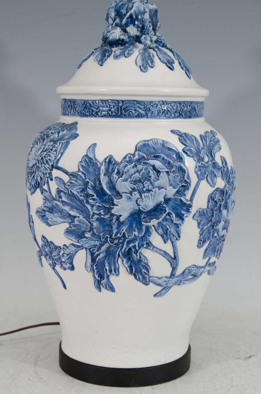 mid century white and blue ceramic ginger jar table lamp for sale at. Black Bedroom Furniture Sets. Home Design Ideas