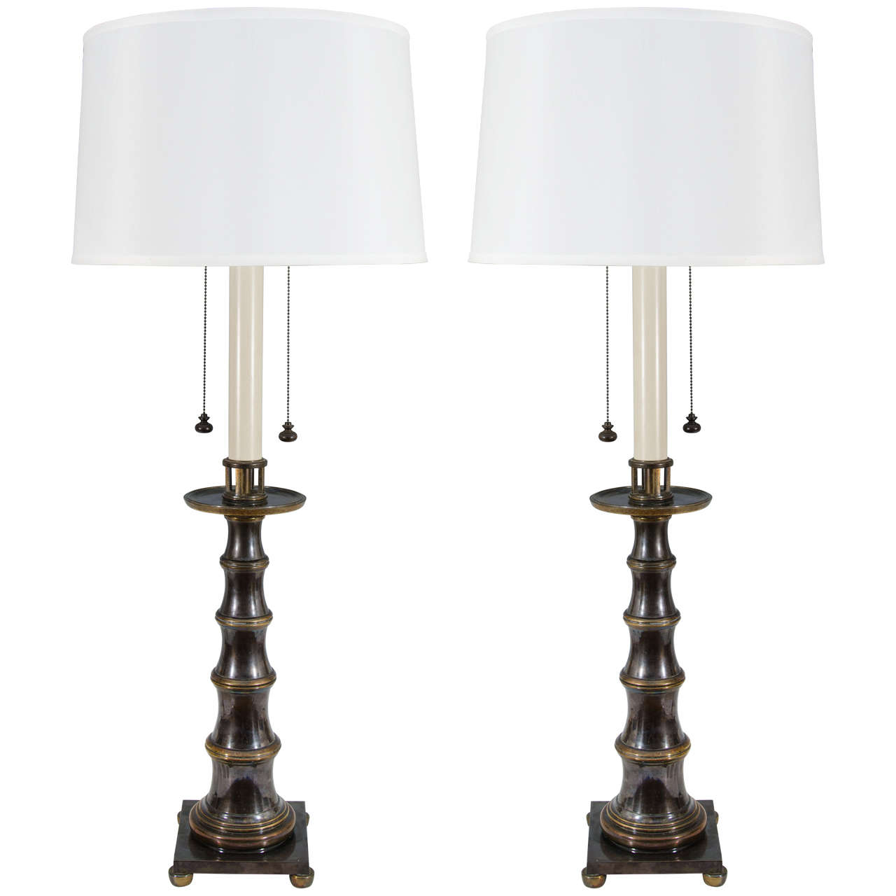 Mid-Century Pair of Faux Bamboo Table Lamps by Stiffel