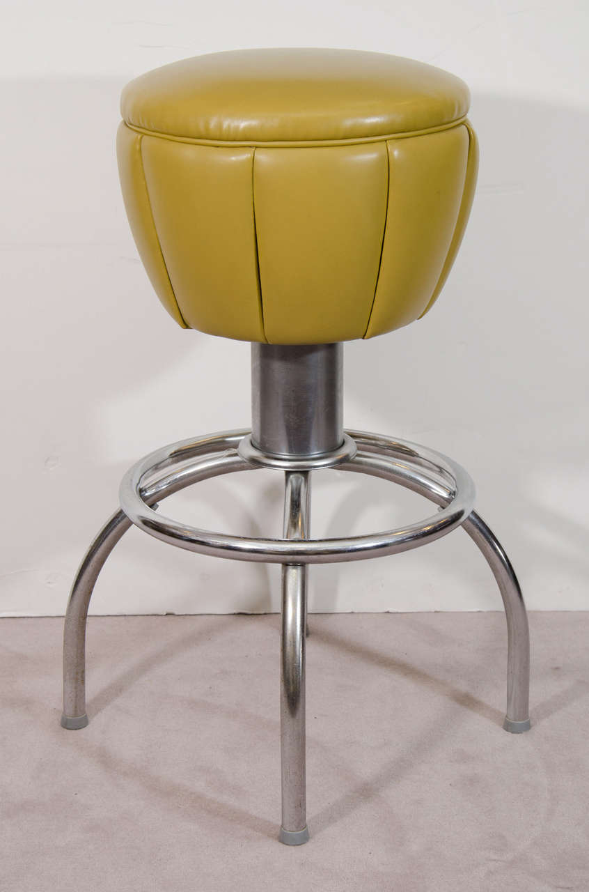 Mid Century Pair Of Olive Green Swivel Bar Stools At 1stdibs