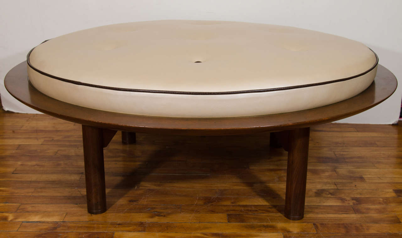 Contemporary Wooden Ottoman ~ Mid century danish modern round leather and wood ottoman