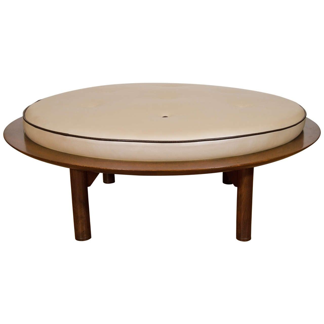 Mid century danish modern round leather and wood ottoman